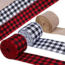 STMK 3 Rolls Wired Edge Ribbons, Christmas Red and Black Plaid Ribbons, White and Black Buffalo Plaid Ribbons and Burlap C...