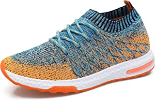 WELMEE Men's Knit Breathable Comfortable Sneakers Lightweight Athletic Tennis Walking Running Shoes