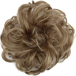 PRETTYSHOP Scrunchie Scrunchy Bun Up Do Hair piece Hair Ribbon Ponytail Extensions Wavy Curly or Messy light brown 16