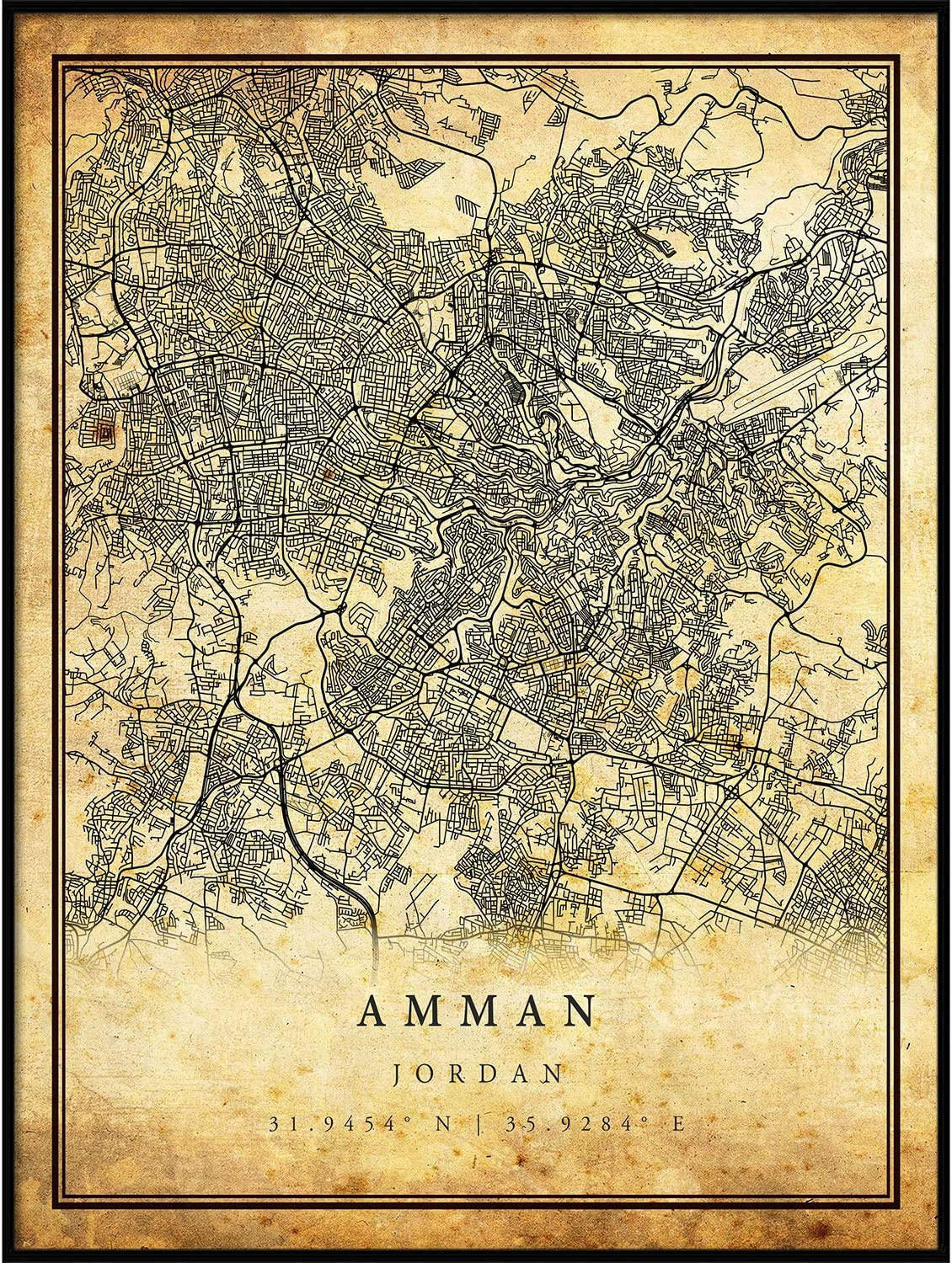 Amman map Special price for a limited time Vintage Style Ultra-Cheap Deals Poster Old City Prints Artwork Print