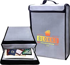 BLOKKD Fire Safe Document Box - Fireproof Box for Home, Files & Important Papers. Water Resistant Storage, Lockable Zippers & Fireproof Seams! | 16 x 11.5 x 3 inches