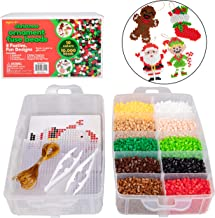 Christmas 10,000 pcs Special Holiday Fuse Bead Kit - Create Your Own DIY Ornaments (Xmas Tree, Stocking, Gingerbread Man Cookie, Ornament, Reindeer, Santa Claus, Snowman, Elf) - Great Craft Toy Gift