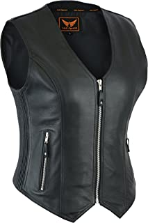 A&H Apparel Womens Bicker Classic Genuine Cowhide Leather Motorcycle Vest side Stretch Panel Gun Pocket Vest (Large)