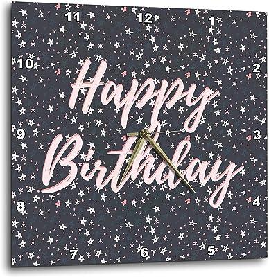 3dRose Alexis Design - Happy Birthday - Starry Night Happy Birthday Patter of Pink, Grey