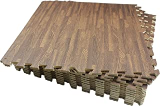 LaFamille Wood Grain Floor Mat 6/12 Tiles Foam Interlocking Puzzle Wood Mat for Kids, Gym, Basement 2'x2'