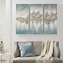 لوحة فنية جدارية مضيئة زرقاء من ماديسون بارك، مصنوعة من قماش كتاني مزخرف يدويًا تجريدي حديث وممتد، مجموعة من 3 قطع لتزيين ...