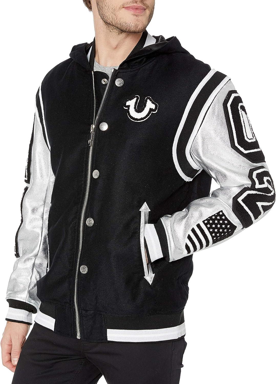 True Religion Men's Hooded Varsity Jacket at  Men's Clothing store