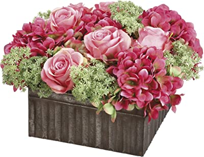 House of Silk Flowers Artificial Pink Roses and Hydrangea in Square Distressed Tin Box