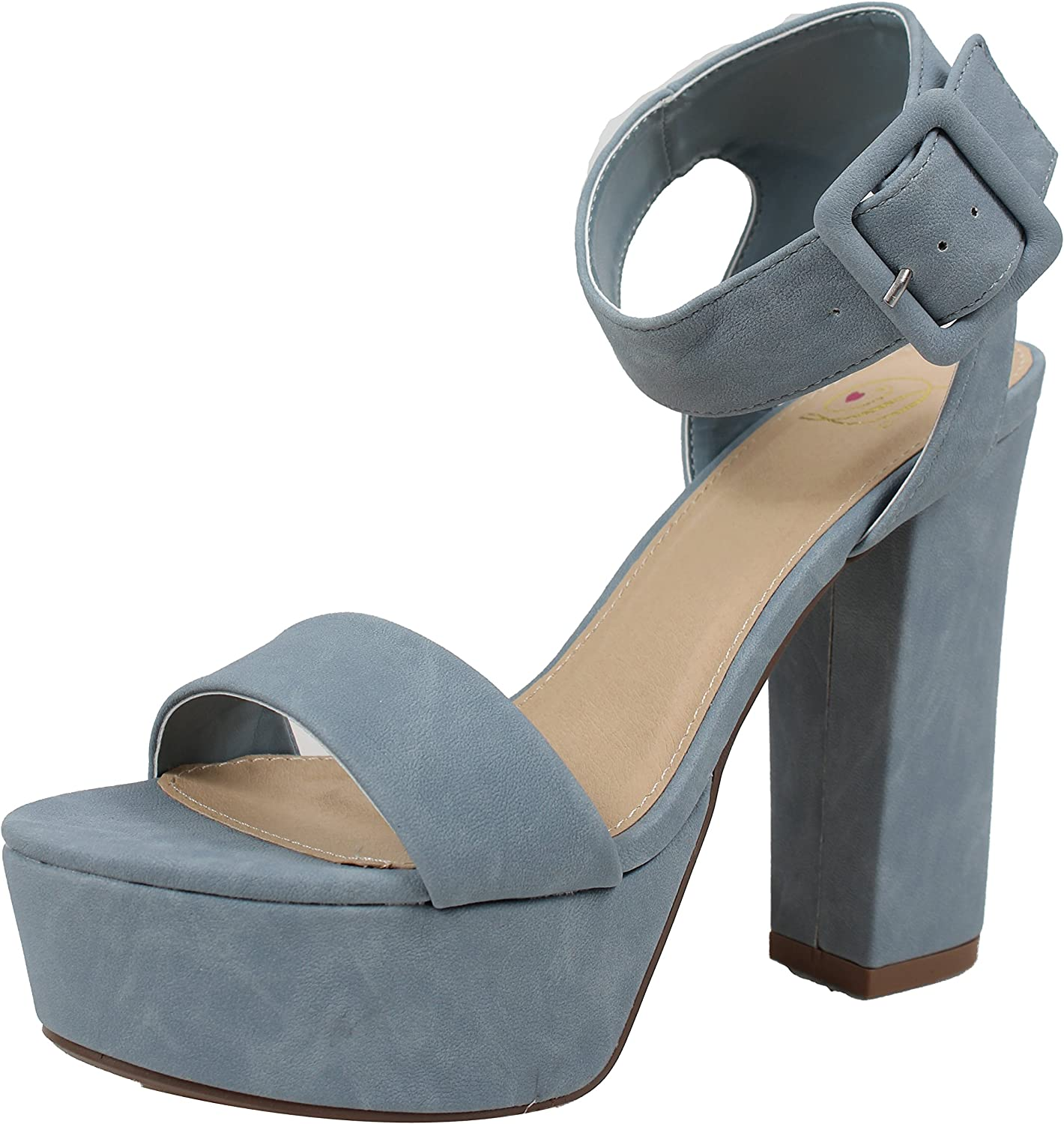 Delicious Women's Open Toe Thick Wide Strap Ankle Strap Block Heel Sandal