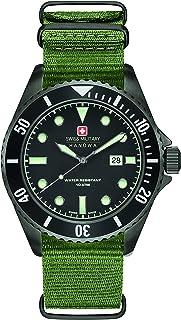Swiss Military - Reloj de pulsera para hombre, de la marca Swiss, con esfera negra y correa azul