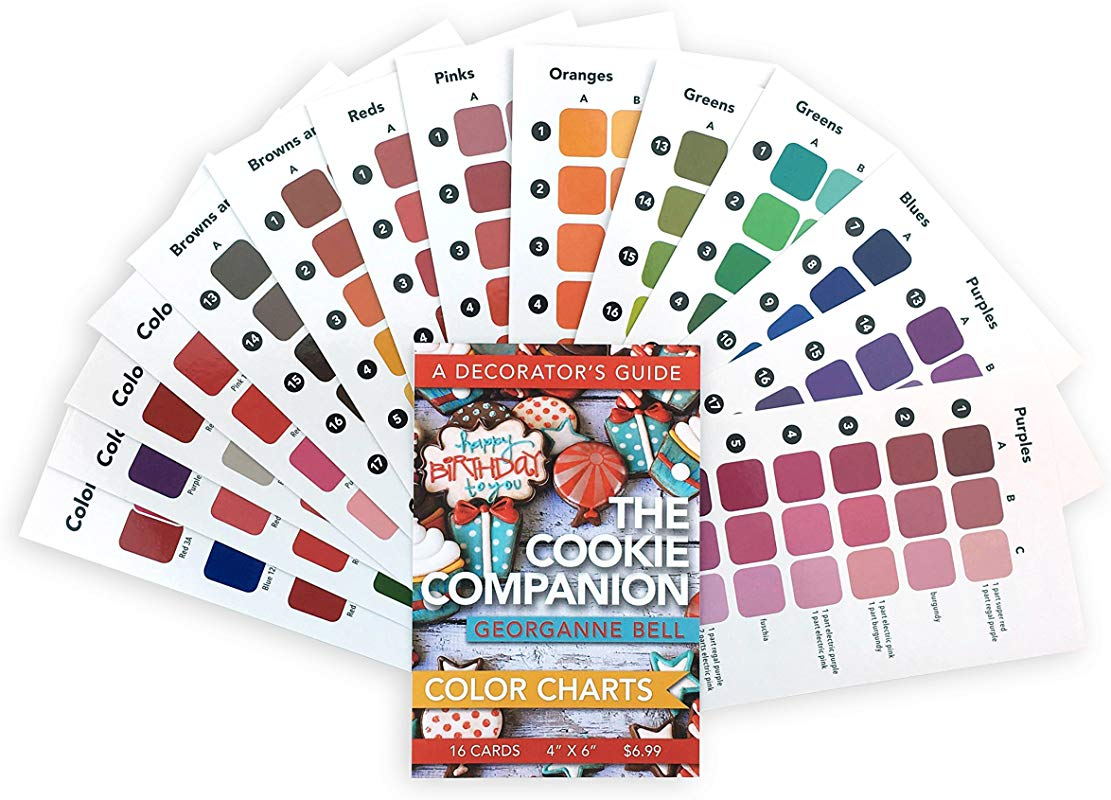 16 Cookie Decorating Color Charts 4 X6 For Use With The Cookie Companion A Decorator S Guide By Georganne Bell