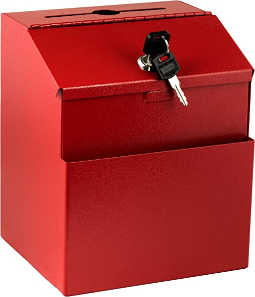 Adir Wall Mountable Steel Suggestion Box With Lock Donation Box Collection Box Ballot Box Key Drop Box Red With 25 Suggestion Cards