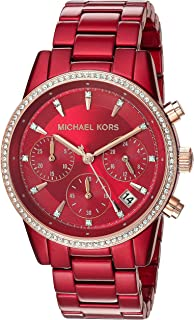 Women's Ritz Quartz Watch with Stainless-Steel-Plated Strap, red, 18 (Model: MK6665)