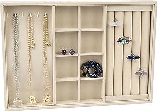 Jovivi Dispaly Plateaux à bijoux pour bijoux, 3 sections pour collier, bagues et bracelets, petits bijoux, boîte en velour...