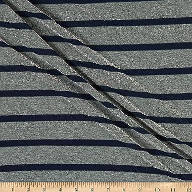 Fabric Merchants Splendid Apparel Rayon Spandex Jersey Knit Stripe with Lurex Fabric, Navy
