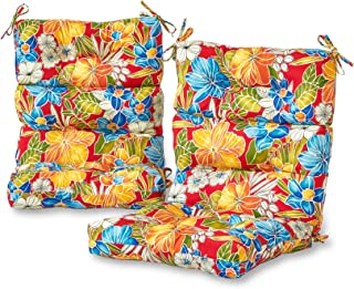 Greendale Home Fashions Outdoor High Back Chair Cushion (set of 2), Aloha Red