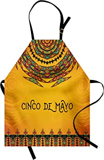 Lunarable Mexican Apron, 5th May Celebration Historical National Aztec Victory Holiday Cinco de Mayo Art, Unisex Kitchen Bib with Adjustable Neck for Cooking Gardening, Adult Size, Orange Red