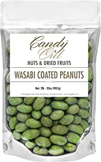 CandyOut Wasabi Peanuts 2 Pound Wasabi Coated Peanut Snack in Sealed Resealable Stand Up Bag