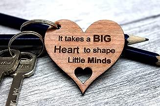 MadeAt94 Teacher Appreciation Gift Under 10 Keyring Heart Wooden
