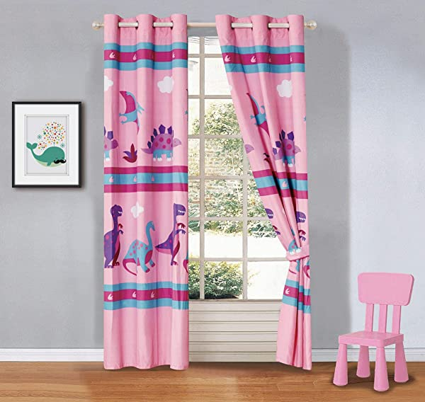 Better Home Style Multicolor Pink Blue Purple Dinosaurs Printed Fun Girls Kids Room Window Curtain Treatment Drapes 2 Piece Set With Grommets Dinosaur Land Pink Matching Curtain
