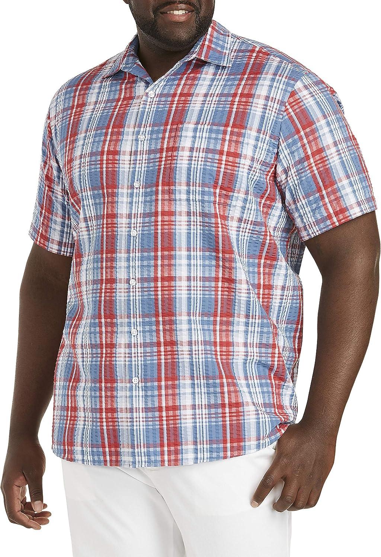 Oak Hill by DXL Big and Tall Large Plaid Seersucker Sport Shirt, Blue