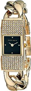 Anne Klein Women's AK/1706BKGB Rectangular Swarovski Crystal Accented Gold-Tone Chain Bracelet Watch