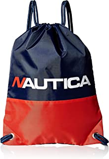 Nautica Kids' Little Drawstring Backpack Cinch Bag, blue/red One Size