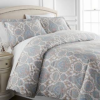 Southshore Fine Linens 3 Piece - Oversized Duvet Cover Set Full / Queen Blue MF-DUV-BOHPSLY-AQUA-Q