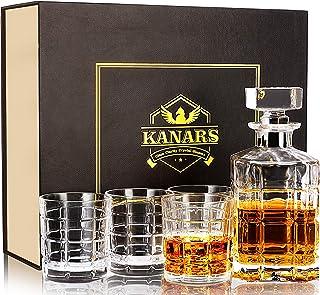 KANARS Whiskey Dekanter Set für Männer mit Einzigartiger Geschenkbox, Bleifreier Kristall 30oz Likörkaraffe mit 4 Gläsern für Scotch, Bourbon, Wodka, Cognac oder Irish Whisky