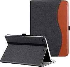Ztotop iPad Mini 1/2/3 Case, Leather Folio Stand Protective Case Smart Cover with Multi-Angle Viewing, Pocket, Functional Elastic Strap for iPad Mini 3/Mini 2/Mini 1 - Denim Black Brown