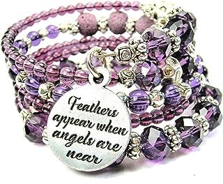ChubbyChicoCharms Feathers Appear When Angels are Near Multi Wrap Beaded Bracelet in Plum Purple