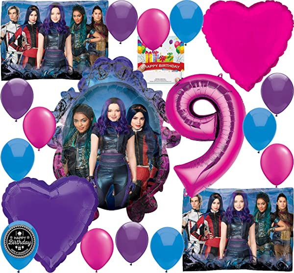 Descendants 3 Party Supplies Birthday Balloon Decoration Bundle For 9th Birthday