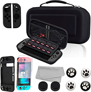 7 in 1 Kit for Nintendo Switch with Carrying Case Screen Protector and Thumb Grips