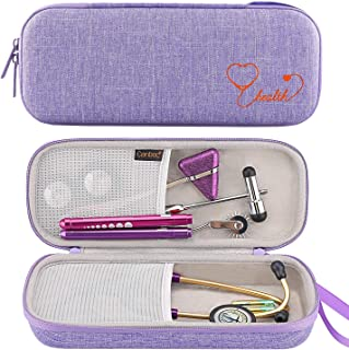 Canboc Stethoscope Carrying Case for 3M Littmann Classic III/Cardiology IV Stethoscope - Extra Storage Taylor Percussion Reflex Hammer, Reusable Medical LED Penlight, Lavender