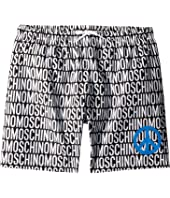 Moschino Kids - All Over Logo Print Swim Shorts w/ Peace Sign (Big Kids)