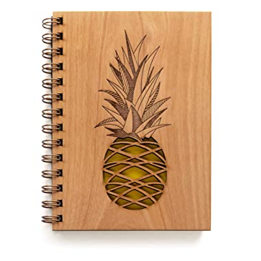 Pineapple Laser Cut Wood Journal (Blank Pages Notebook/Christmas/Birthday Gift/Gratitude Journal/Handmade/Christmas Gift)