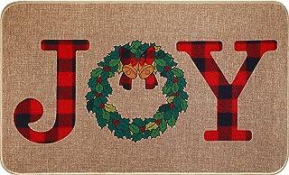 Christmas Decorative Doormat Joy Holiday Front Door Mat Non Slip Washable Door Mat Buffalo Check Plaid Outdoor Mat Natural...