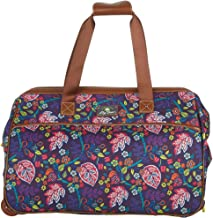 Lily Bloom Luggage Designer Pattern Suitcase Wheeled Duffel Carry On Bag (14in, Raking It In)