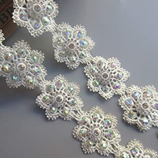 3 Meters Pearl Beaded Flower Lace Edge Trim Ribbon Vintage Style White Edging Trimmings Fabric Embroidered Applique Sewing Craft Wedding Bridal Dress Clothes DIY Party Embroidery Flower 1: 45 mm
