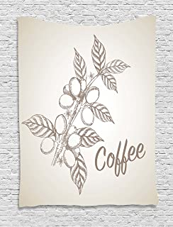 Coffee Tapestry, Monochrome Sketch Branch with Leaves and Beans Agricultural Components Coffee, Wall Hanging for Bedroom L...