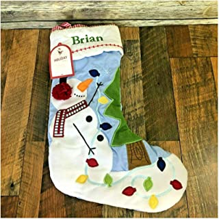 New Pottery Barn Kids Quilted Blue Christmas Stocking Snowman Embroidered Brian
