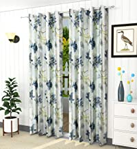 LaVichitra Floral Print Eyelet Polyester 7 ft Door Curtain -Set of 2 Piece