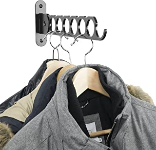 Wallniture Costa Wardrobe Organizer Wall Mounted Clothes Bar - Folding Hanger Rack Holder Organizer - Steel Black 14.5 Inch (Black)