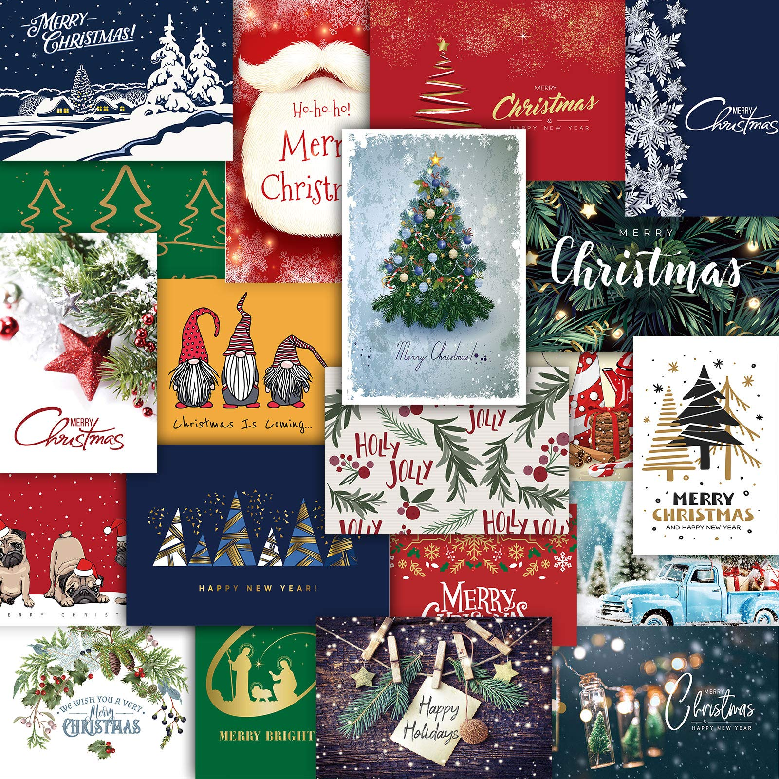 Whaline Christmas Greeting Cards with Envelopes Glue Point 20 Pack Assorted Merry Christmas Cards Winter Holiday Greeting Notes for Family Christmas New Year Gift Party Favor Supplies, 4 x 6 Inch