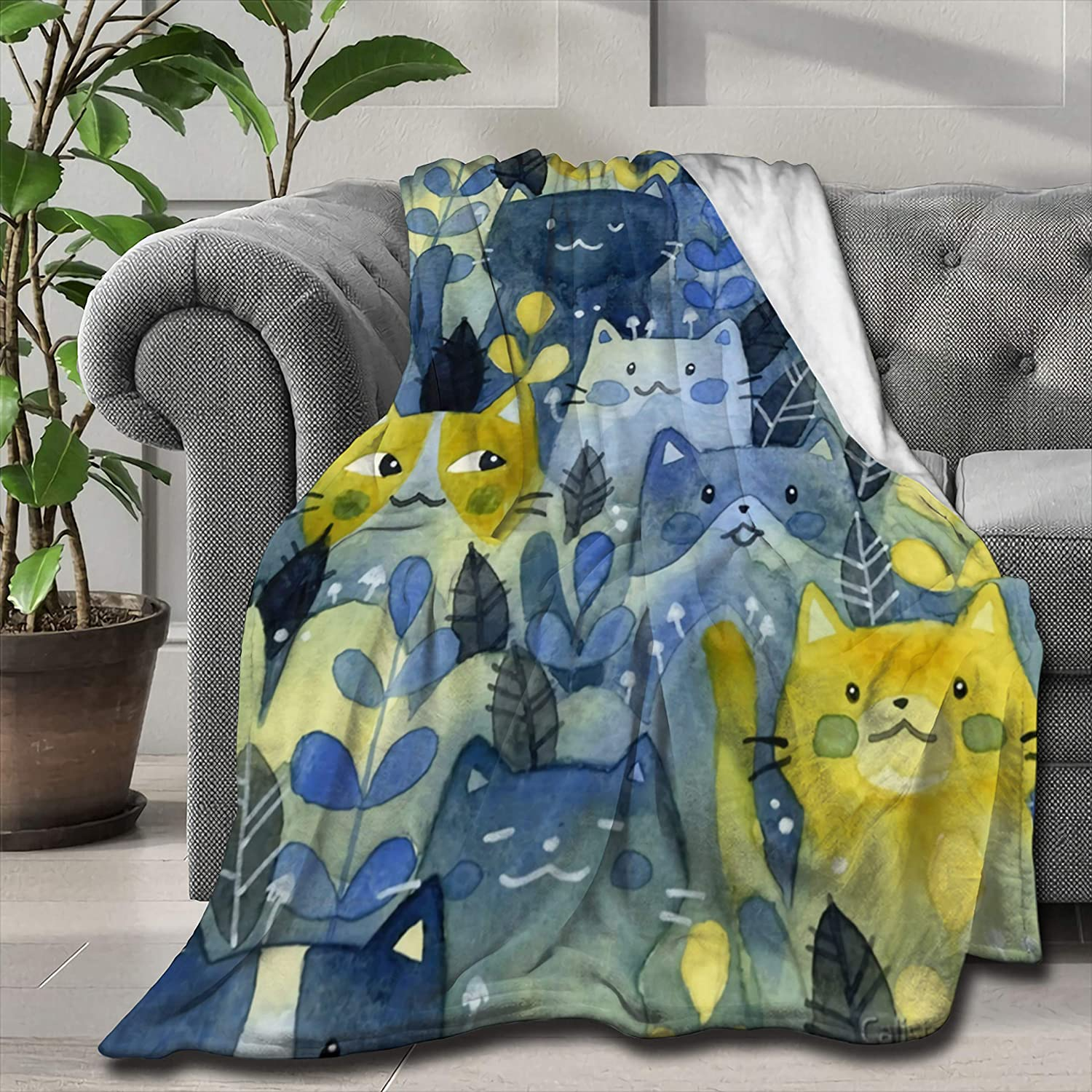 ARTIEMASTER Kitty Forest Blanket Soft Lightweight Flannel 40% OFF gift Cheap Sale and Th
