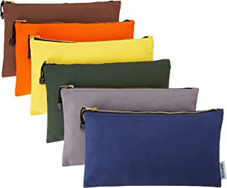 ANPHSIN 6 Pack Canvas Tool Bags Heavy Duty 16 oz. Canvas Tool Multipurpose Pouch Tote Bag with Dependable Metal Zippers