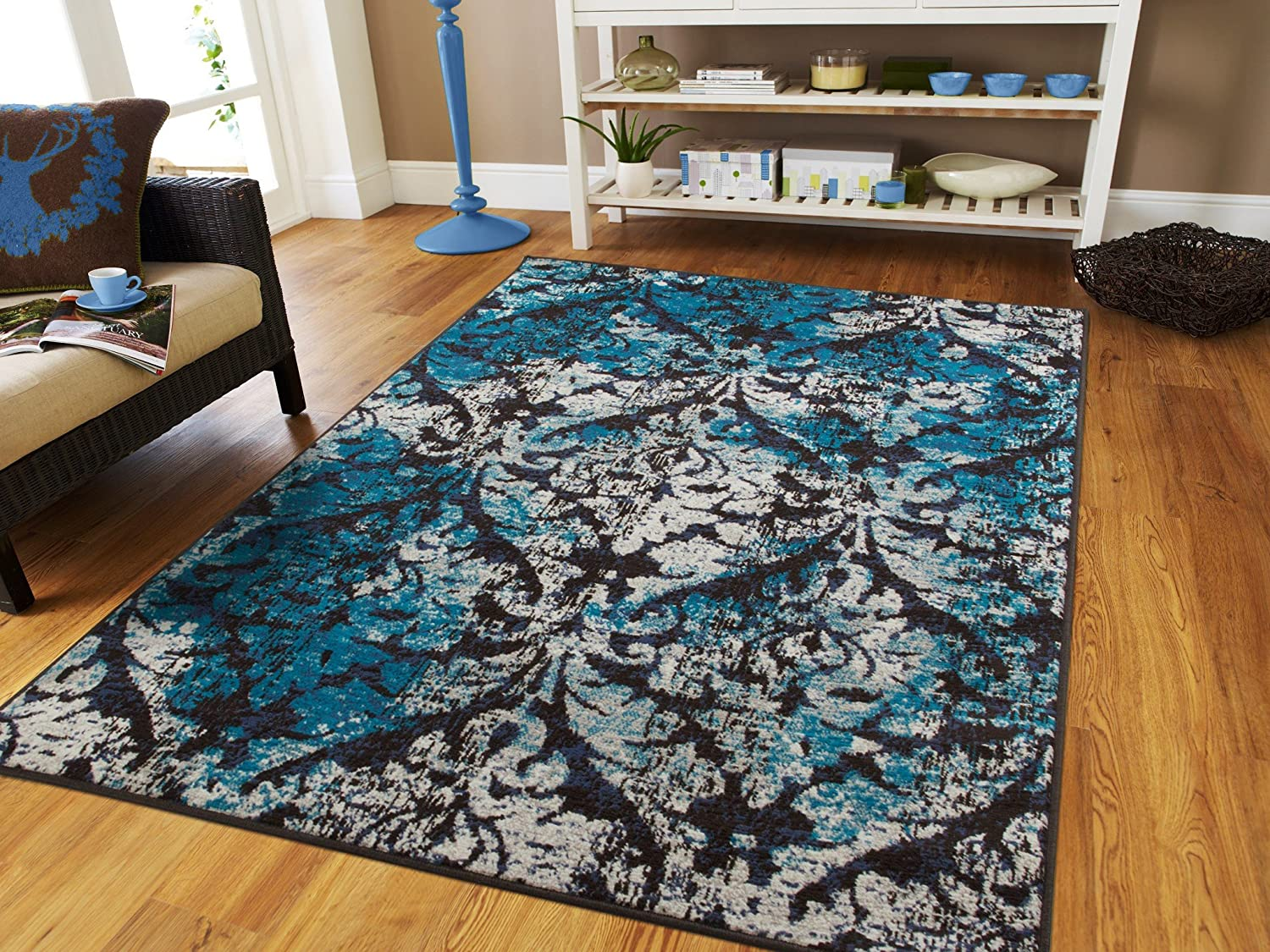 Amazon Com Luxury Contemporary Rugs For Living Room Black Blue Gray Ivory 5x8 Vintage Distressed Modern Dining Rooms 5x7 Blues Grey Nice Rug Bedroom Furniture Decor