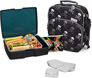 Bentology Lunch Bag and Box Set - Includes Insulated Bag with Handle, Bento Box, 5 Containers and Ice Pack - Skulls