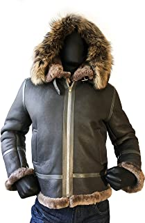 67215707ef349 Men B-3 Genuine Shearling Leather Bomber Jacket Winter Aviator Coat Real Fur  Hood Brown