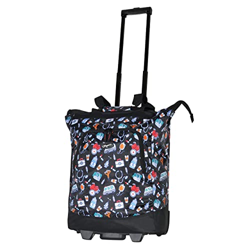 Olympia Deluxe Rolling Shopper Travel Tote, Black, One Size